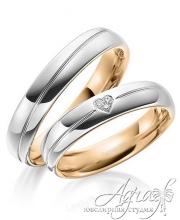 Обручальные кольца из красного и белого  золота с бриллиантами и гравировкой