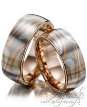 Обручальные кольца из золота и серебра в технике Мокуме Гане