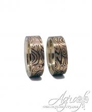Дизайнерские обручальны кольца в технике Мокуме Гане