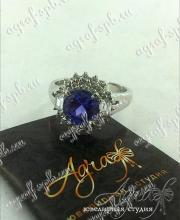 """Помолвочное кольцо """"Синий цветок"""" арт ow-069"""