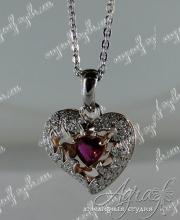 "Кулон ""Рубиновое сердце"" арт ow-149"
