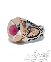Кольцо из белого и красного золота с рубином