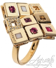 Кольцо из золота с бриллиантами и рубинами r-001