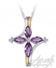 Крест из золота с аметистами и бриллиантами